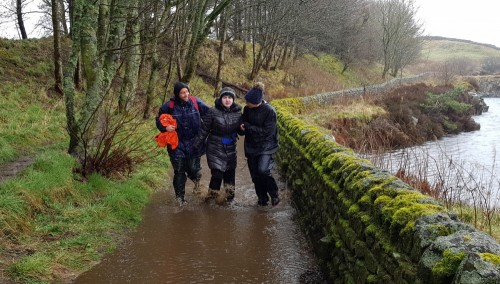 Happily braving the elements on a Duke of Edinburgh expedition!
