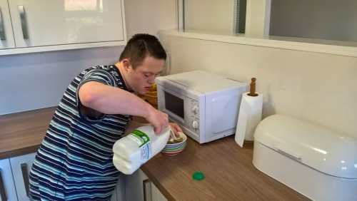 Preparing breakfast in the college house