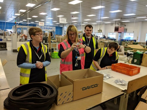 Students on work placement at a local employer