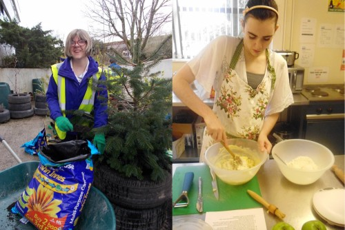 One student learns how to plant a tree while another has a cookery lesson in the College teaching kitchen.