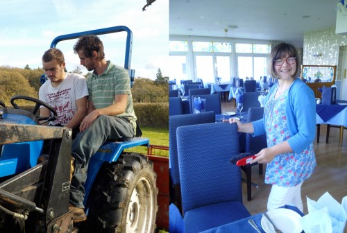 Learning how to drive a tractor and set out restaurant tables while on work placements.