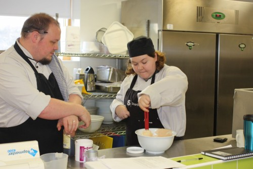 National Star students working in the kitchen at StarBistro