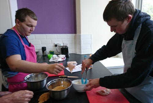 Students preparing a meal in Independent Living Skills