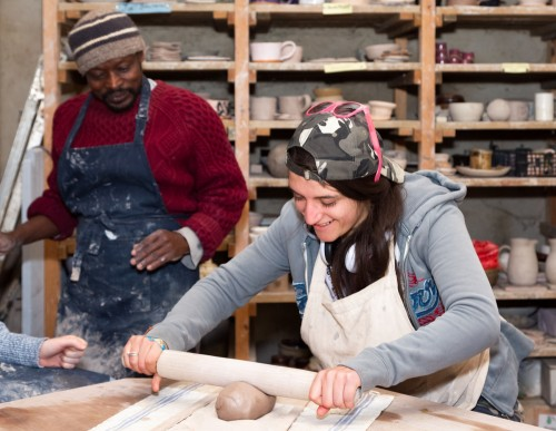 Hands on practical skills and therapeutic education through craft based sessions such as pottery (pictured here)