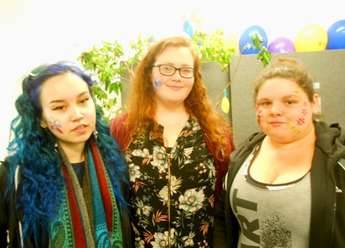 Learners face-painting for charity fundraising event