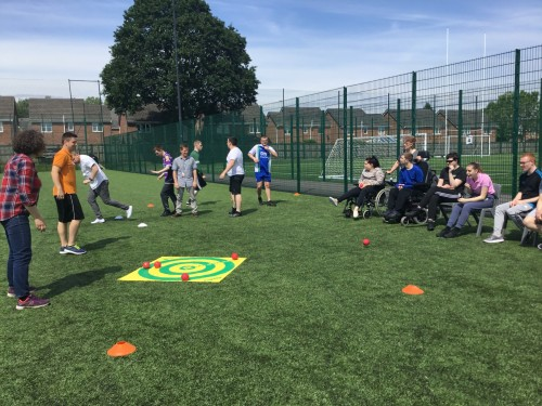 Students taking part in Boccia promoting a Healthy Living, Sport and Wellbeing curriculum.