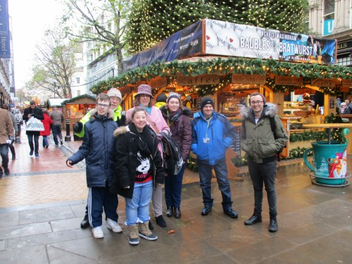 Students having a great time at Birmingham German Market